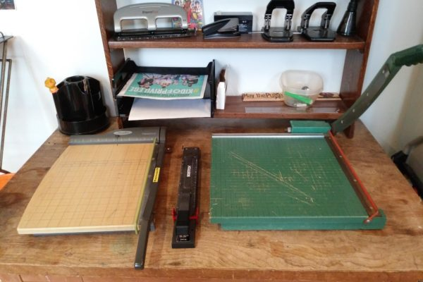 paper cutter and long arm stapler