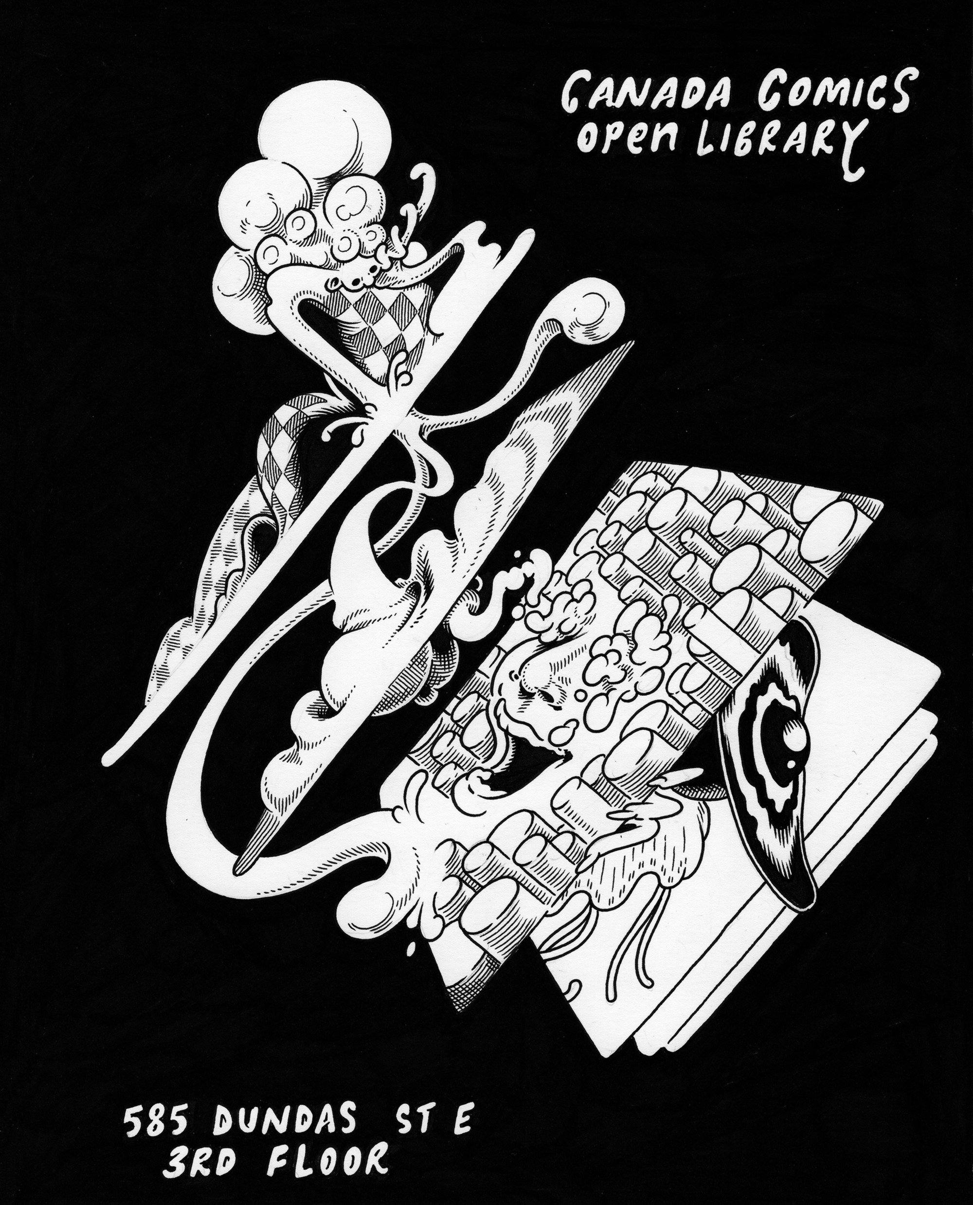 Canada Comics Open Library poster by Eric Kostiuk Williams