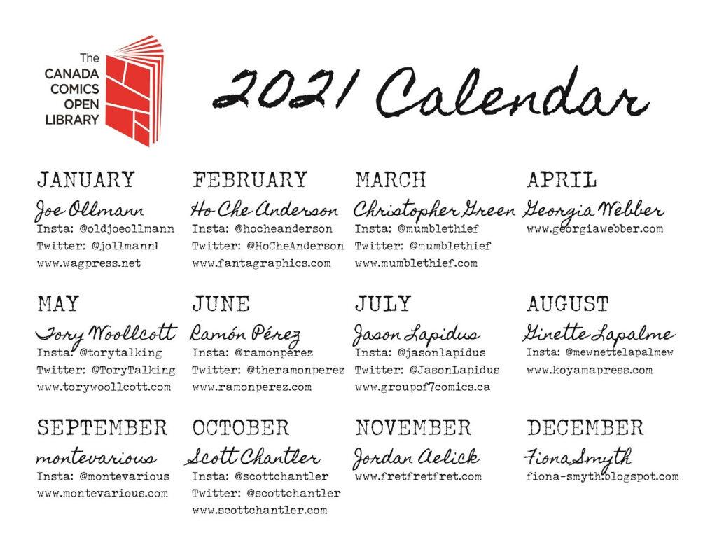 CCOL 2021 Calendar index