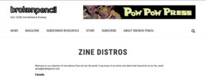 Broken Pencil zine distros (specify when include comics)